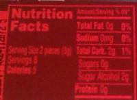 Dentyne fire - Nutrition facts