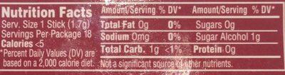 Wholesale Trident 18 Count Sugar Free Cinnamon Gum(24x$1.00) 18.00-ct - Voedingswaarden