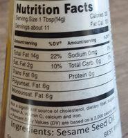 Kadoya Sesame Oil Pure - Nutrition facts