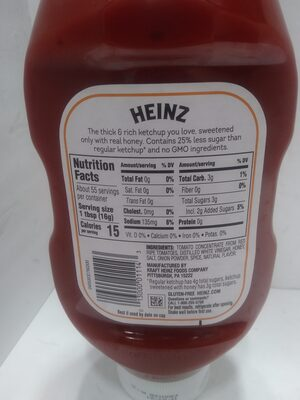 Tomato Ketchup sweetened with honey - Ingredients - en