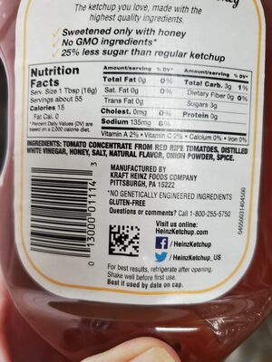 Sweetened with honey reduced sugar tomato ketchup, sweetened with honey - Ingredients - en