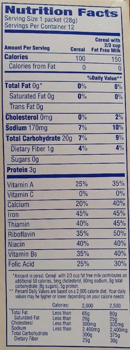 Cream of Wheat Instant hot cereal original flavor - Nutrition facts - en