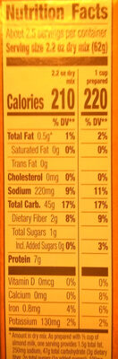 Organic Vegan Mac - Creamy Sauce - Nutrition facts