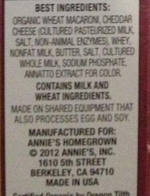 Macaroni & Cheese - Ingrédients
