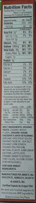 Annie's Homegrown Organic Vegan Mac Cheddar Flavor Pasta & Sauce - Nutrition facts - en