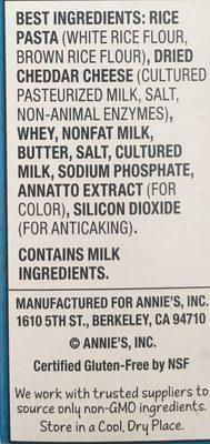 Rice pasta & cheddar - Ingredients