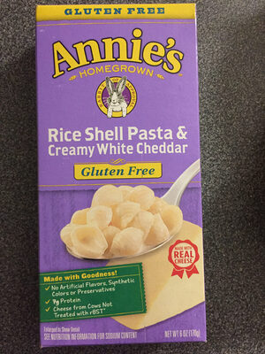 Annie's Homegrown Gluten Free Rice Shell Pasta & Creamy White Cheddar - Product - en