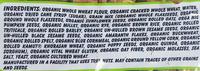 organic Bread - Ingredients