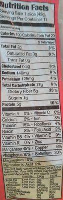 Powerseed (Organic Bread) - Nutrition facts - en