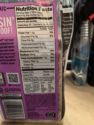 Organic bread, raisin' the roof! - Nutrition facts - en