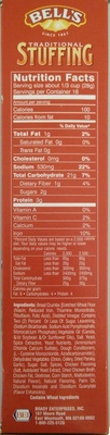 Bell's, traditional stuffing - Nutrition facts