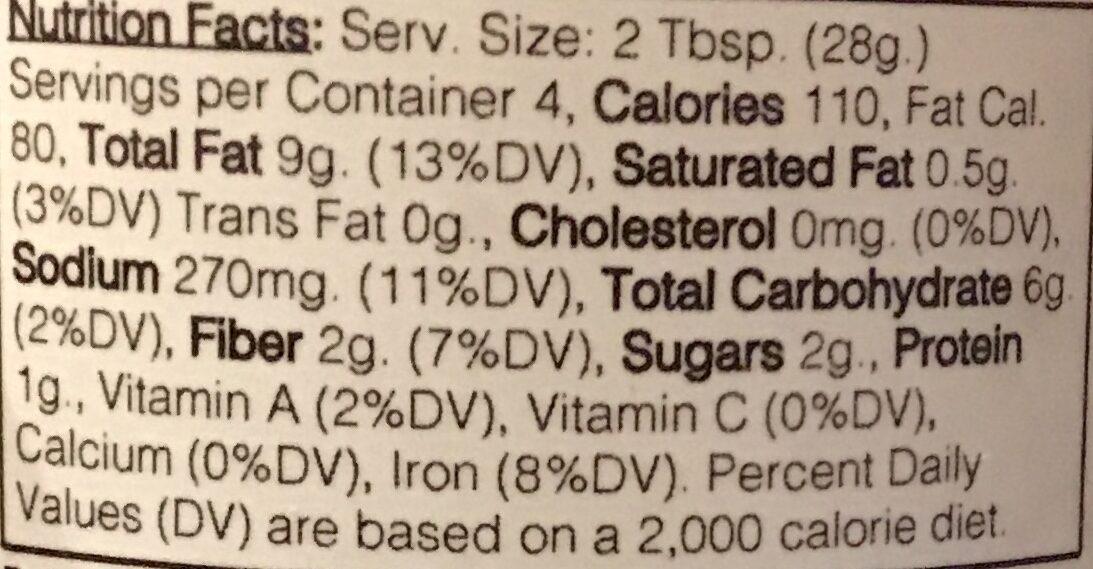 Tapenade - Nutrition facts - en