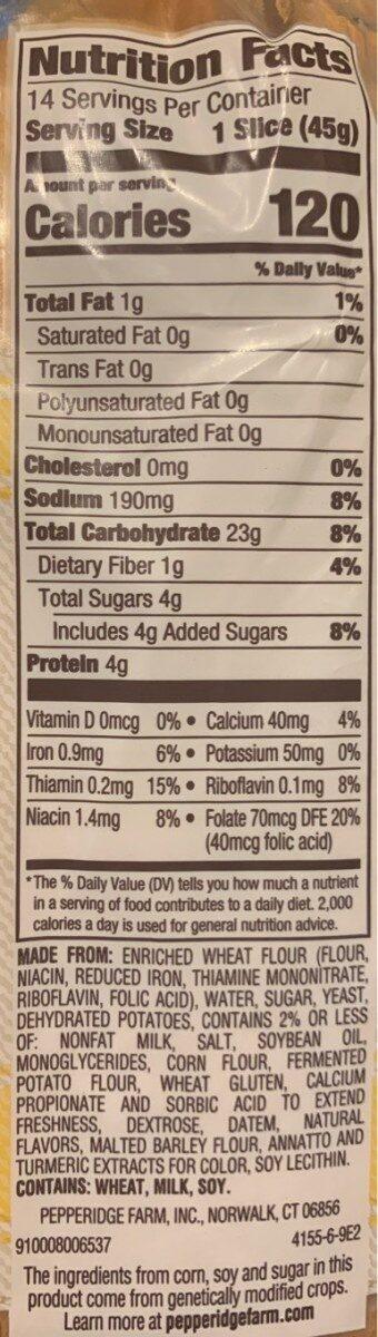 Bread, potato - Voedingswaarden - en