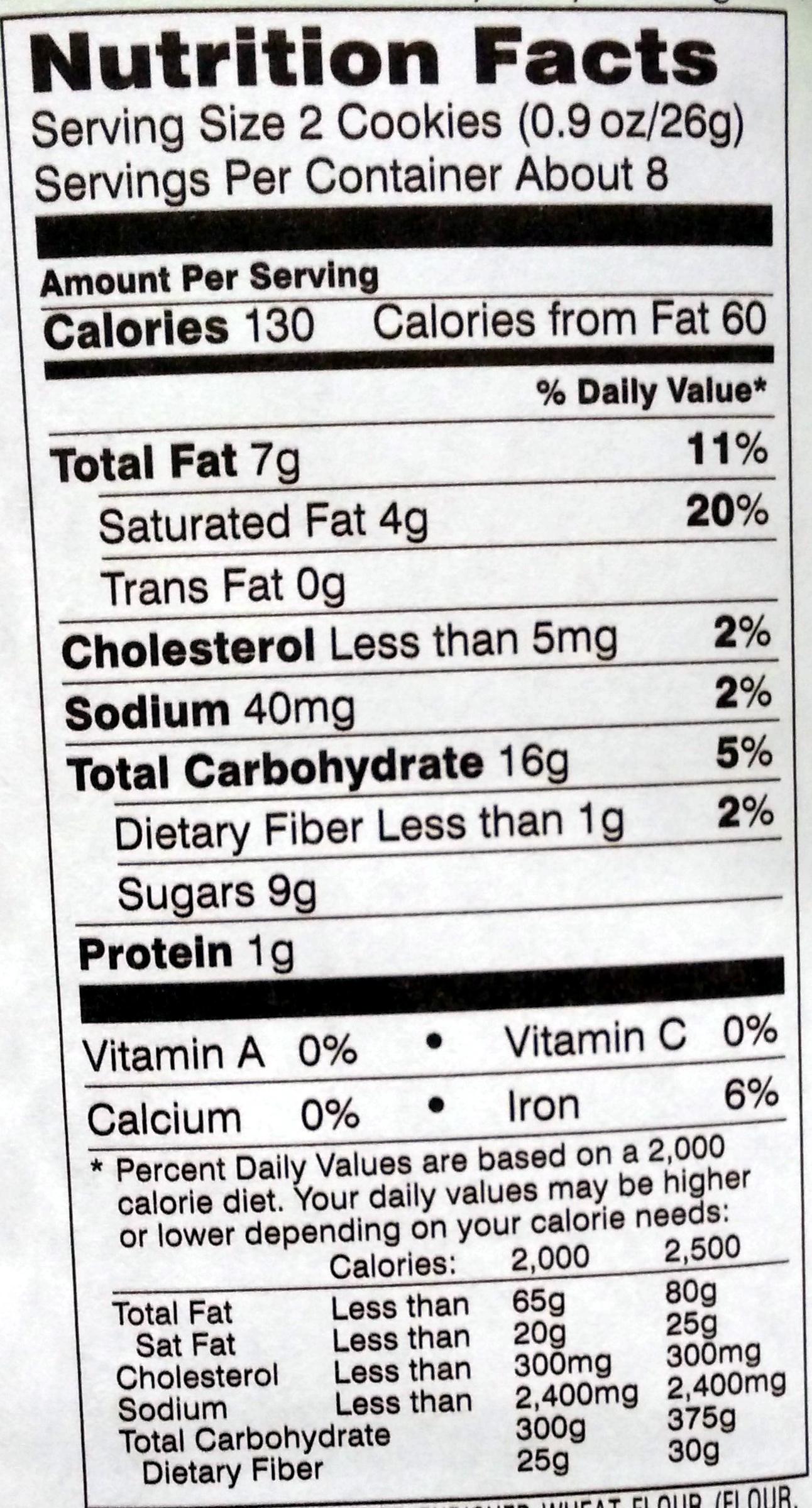 Pepperidge farm cookies lemon - Voedingswaarden - en