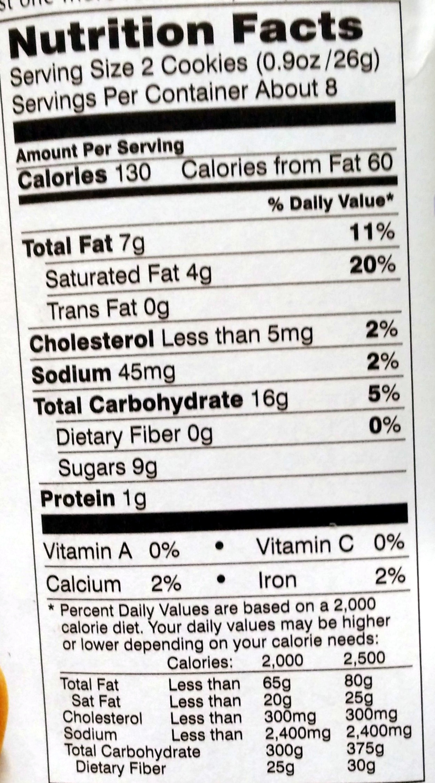 Pepperidge farm cookies dulce de leche - Nutrition facts - en