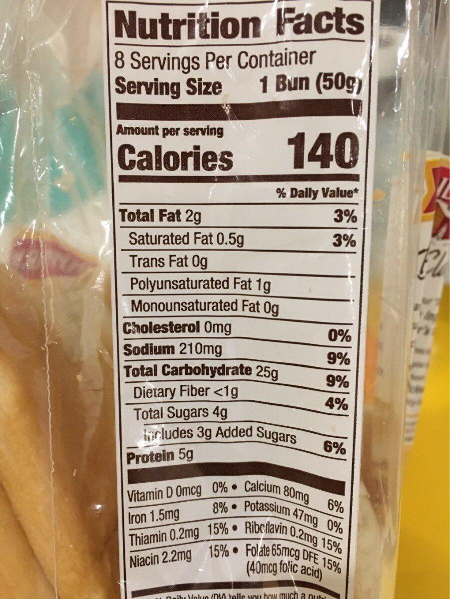 Pepperidge farm, bakery classics, side sliced hot dog buns - Nutrition facts - en