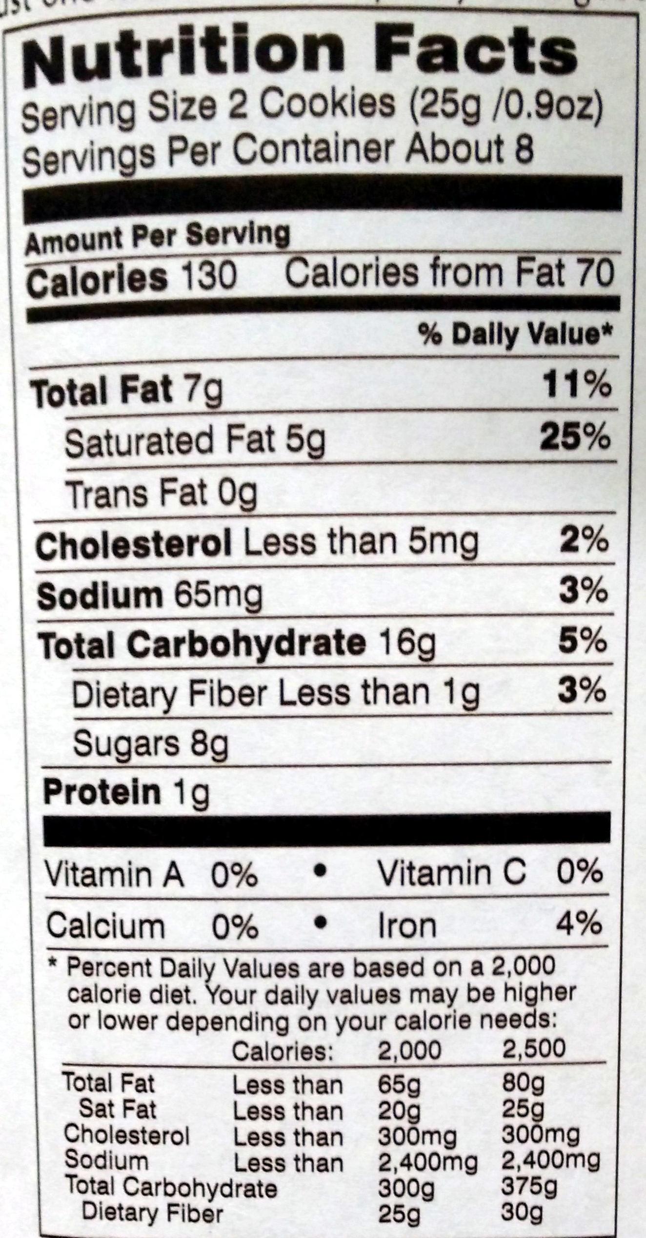 Pepperidge farm cookies - Voedingswaarden - en
