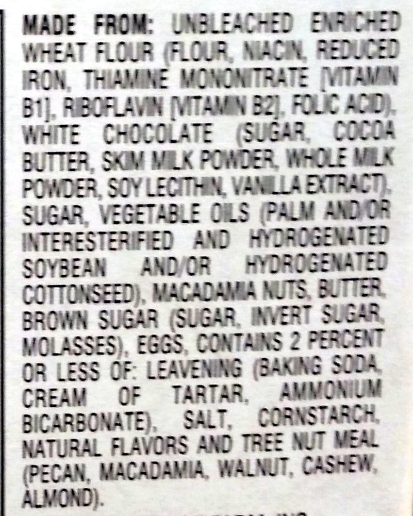 Pepperidge farm cookies wht choc macad - Ingredients - en