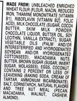 Sausalito Milk Chocolate Macadamia - Ingredients
