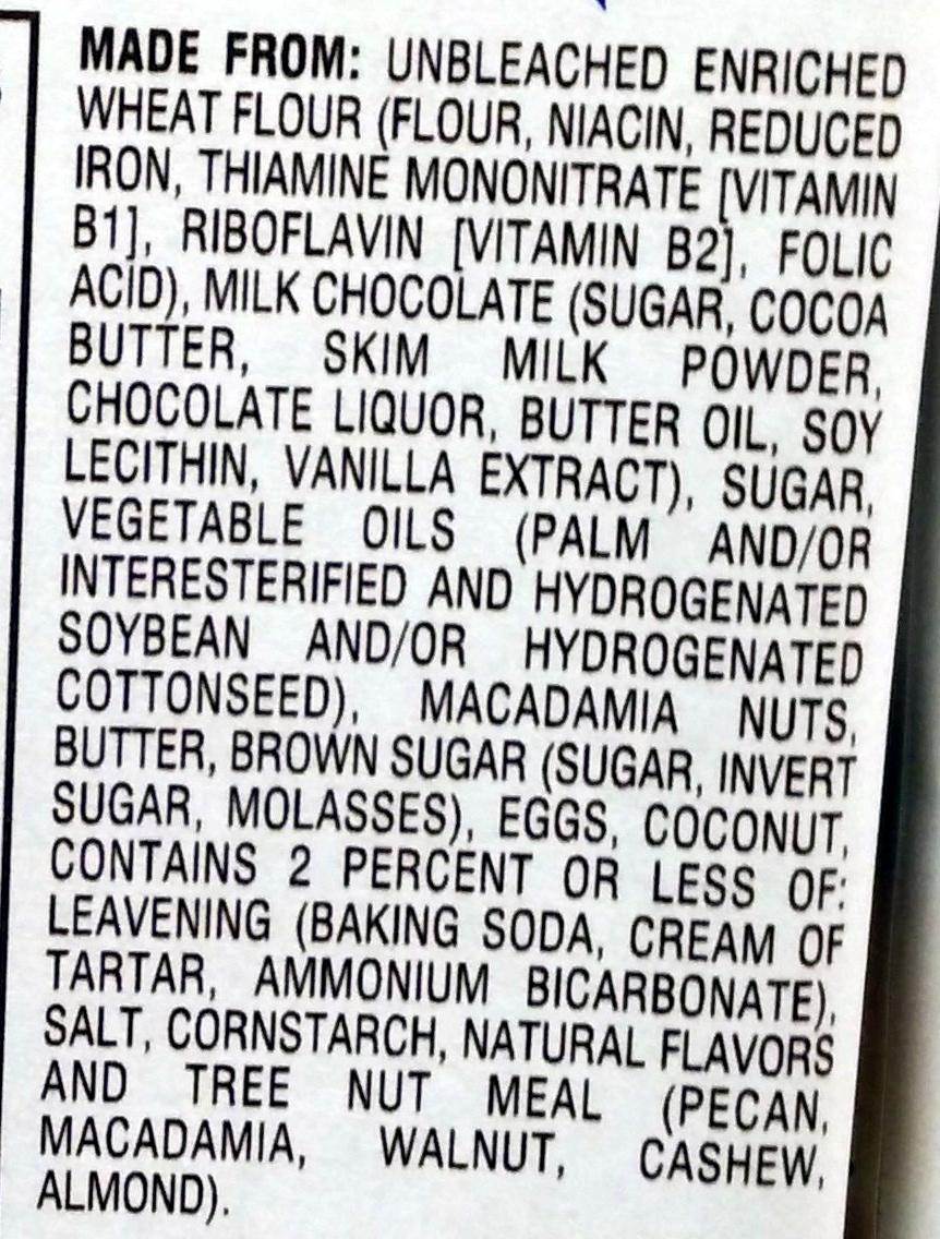 Pepperidge farm cookies milk choc - Ingredients - en
