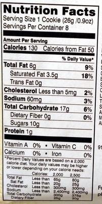 Pepperidge farm cookies milk choc - Voedingswaarden - en