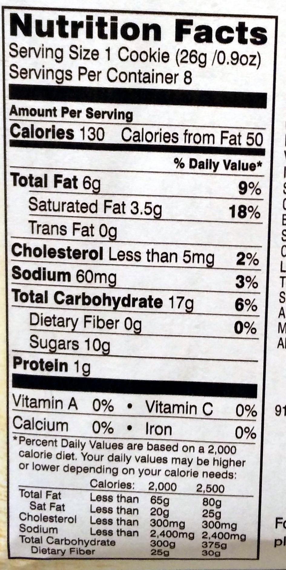 Pepperidge farm cookies milk choc - Nutrition facts - en