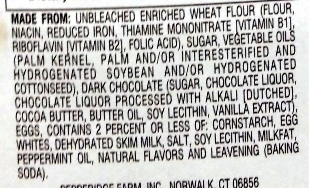 Pepperidge farm cookies mint - Ingredients - en