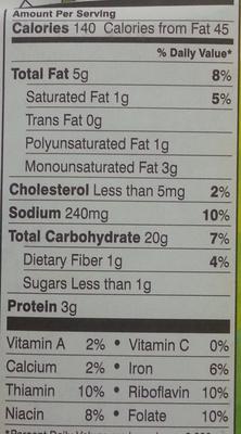 Pepperidge farm crackers cheddar - Informations nutritionnelles