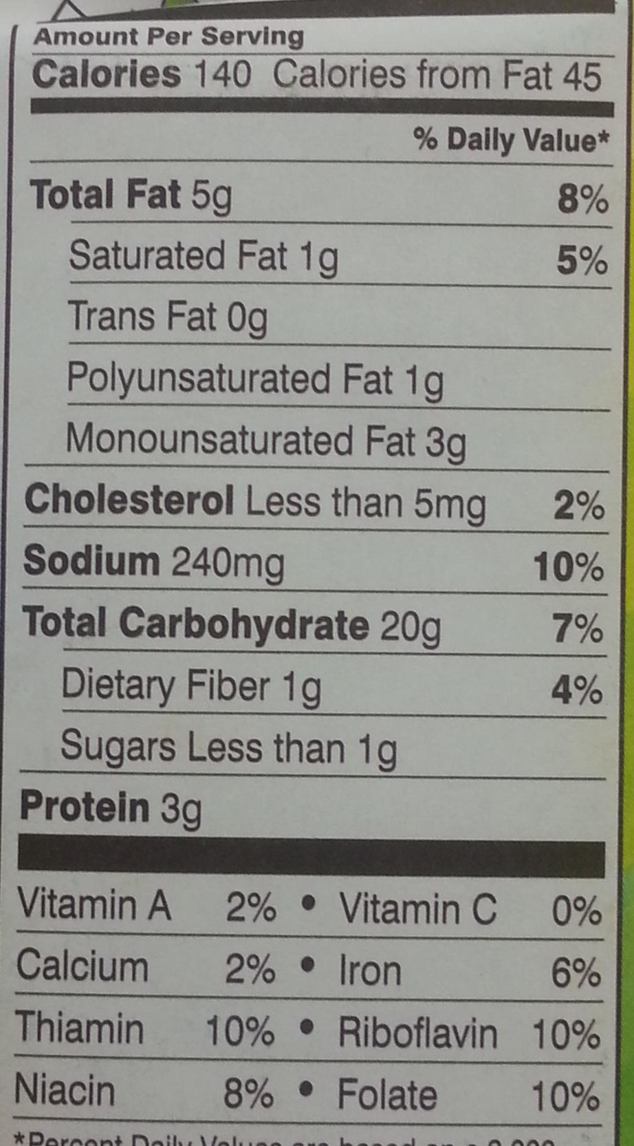 Goldfish Colors - Nutrition facts