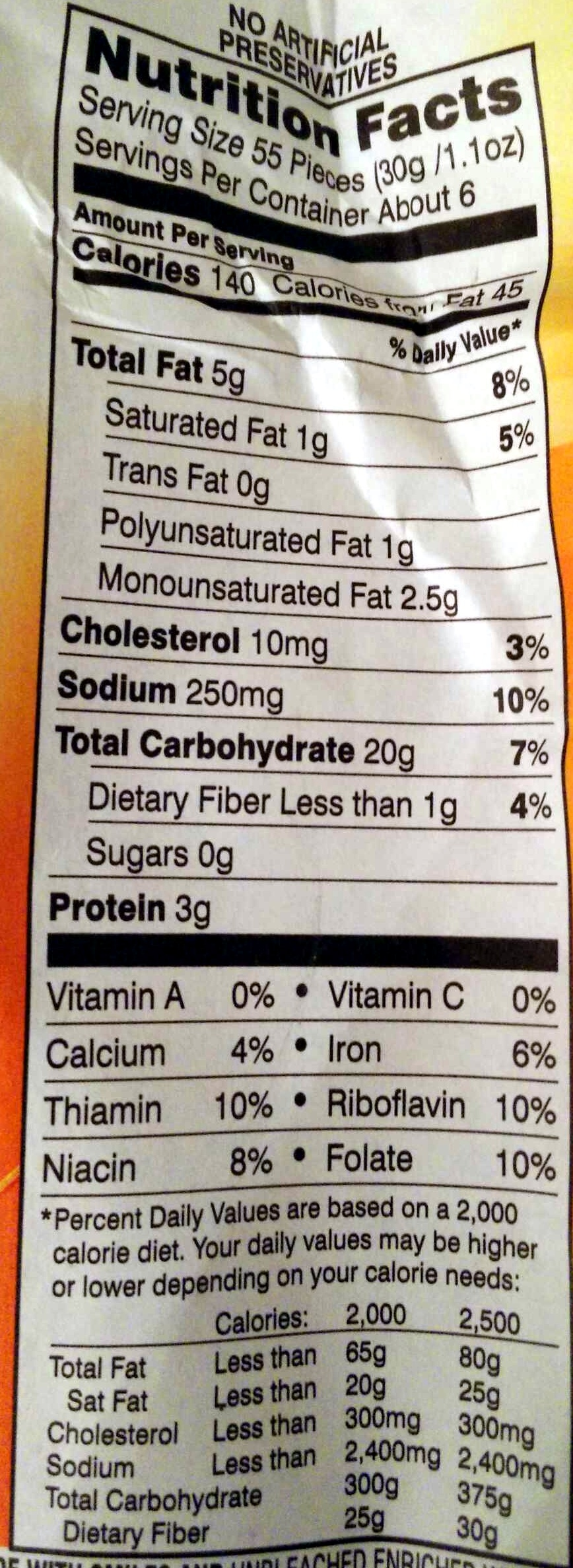 Goldfish Baked Snack Crackers Cheddar - Nutrition facts