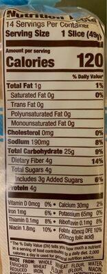 Whole grain white bread, whole grain white - Voedingswaarden - en