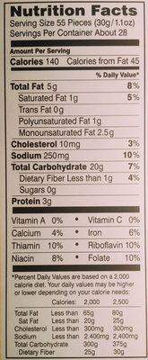 Pepperidge farm crackers cheddar - Voedingswaarden