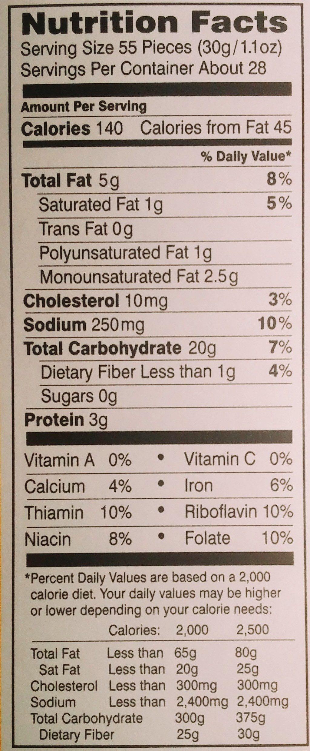Pepperidge farm crackers cheddar - Voedingswaarden - en