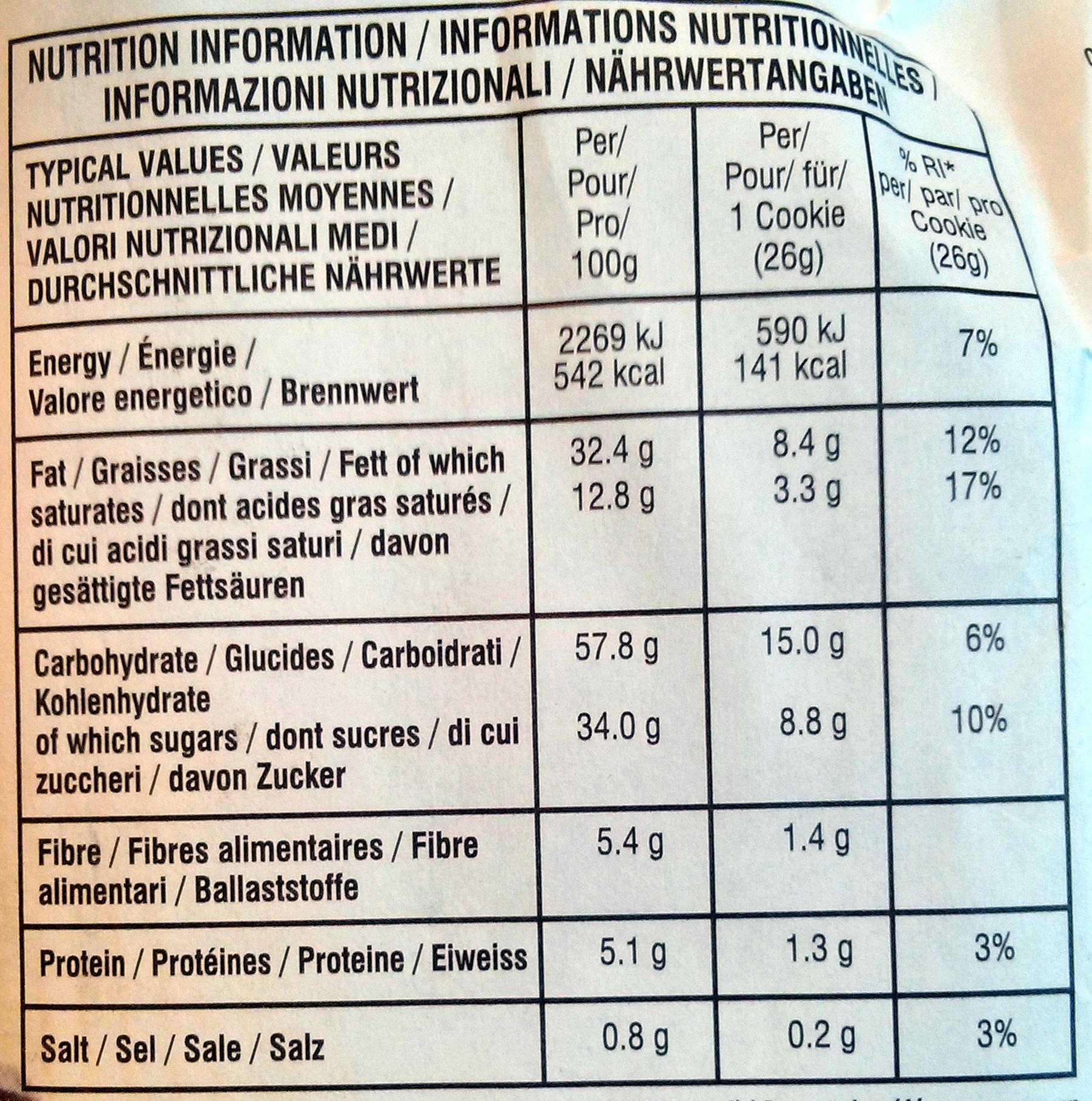 Chocolate Chunk Crispy Cookies - Dark Chocolate Pecan - Nutrition facts - fr