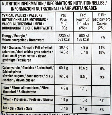 Chocolate Chunk Milk Chocolate Macadamia Crispy Cookies - Nutrition facts