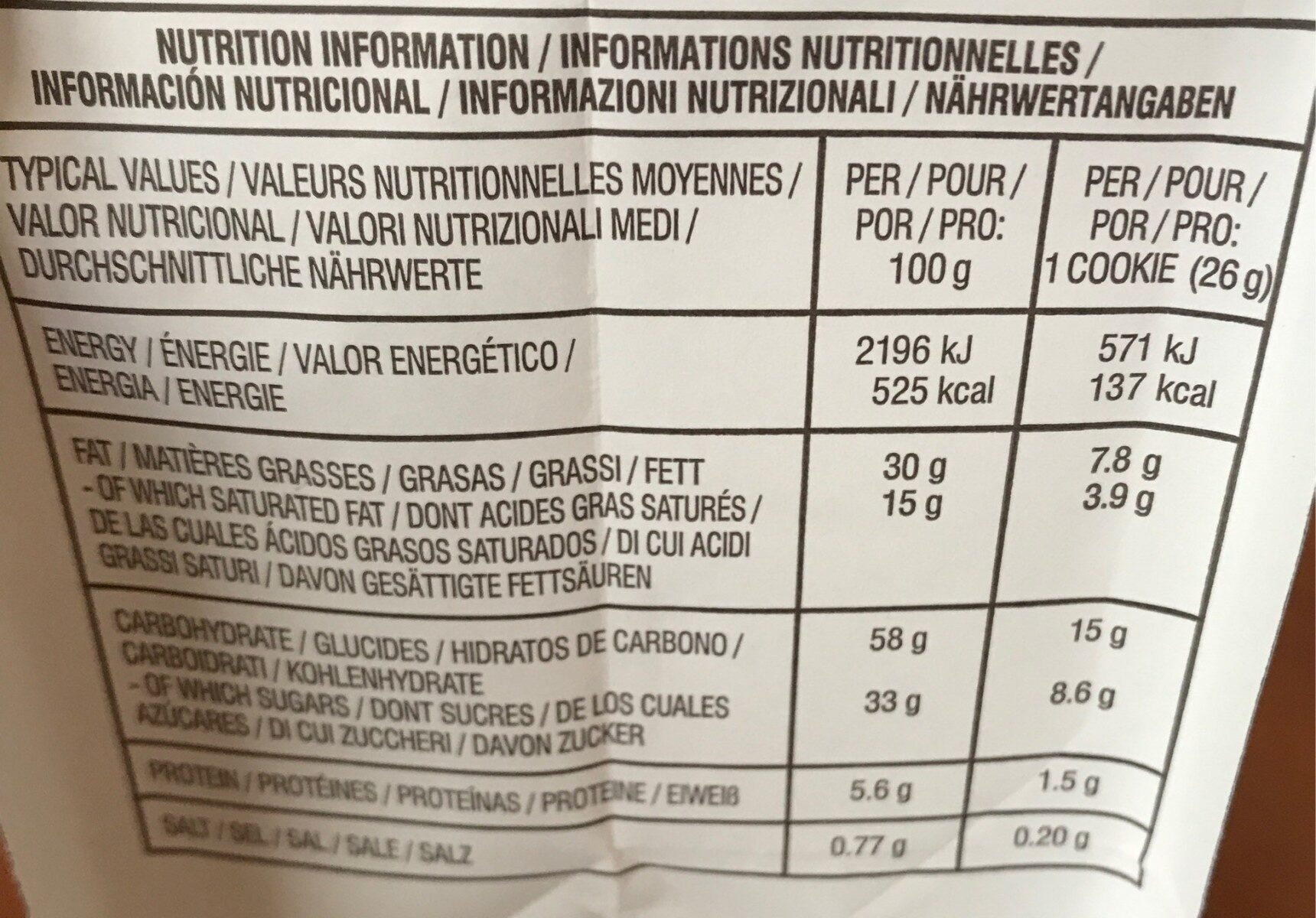 Chocolate Chunk Milk Chocolate Macadamia Crispy Cookies - Nutrition facts - fr