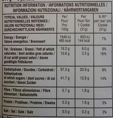 Soft Baked Chocolate Chunk Dark Chocolat Brownie - Nutrition facts - fr