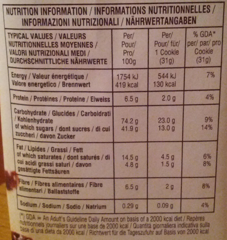 Soft Baked Santa Cruz Oatmeal Raisin Cookies - Voedingswaarden - fr