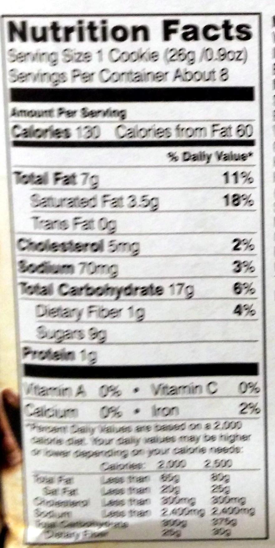 Pepperidge farm cookies - Nutrition facts - en