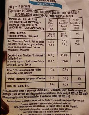 Cookies soft baked - Voedingswaarden