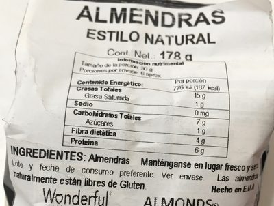 Natural raw almonds - Ingredients