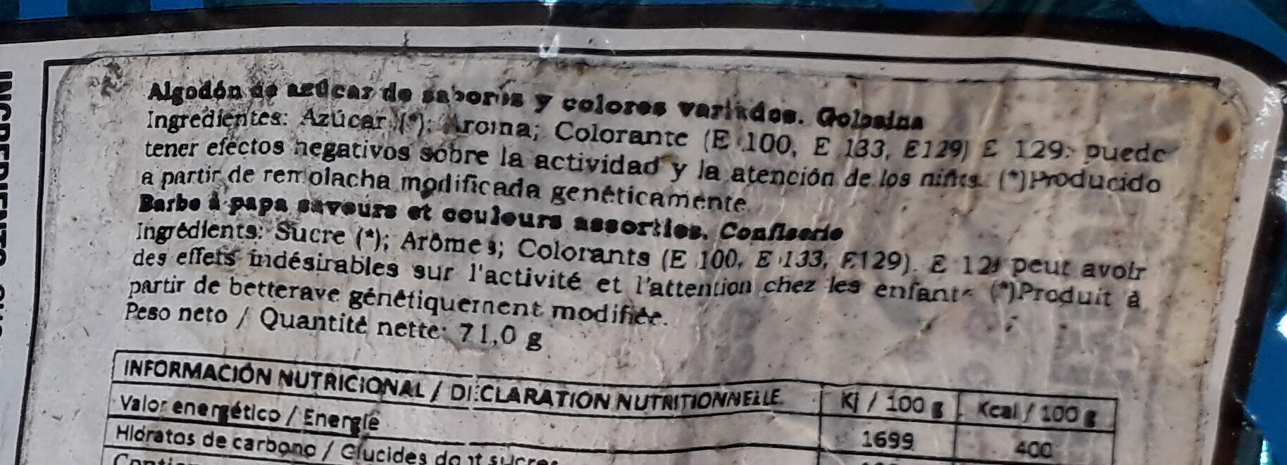 Cotton Candy - Ingredients
