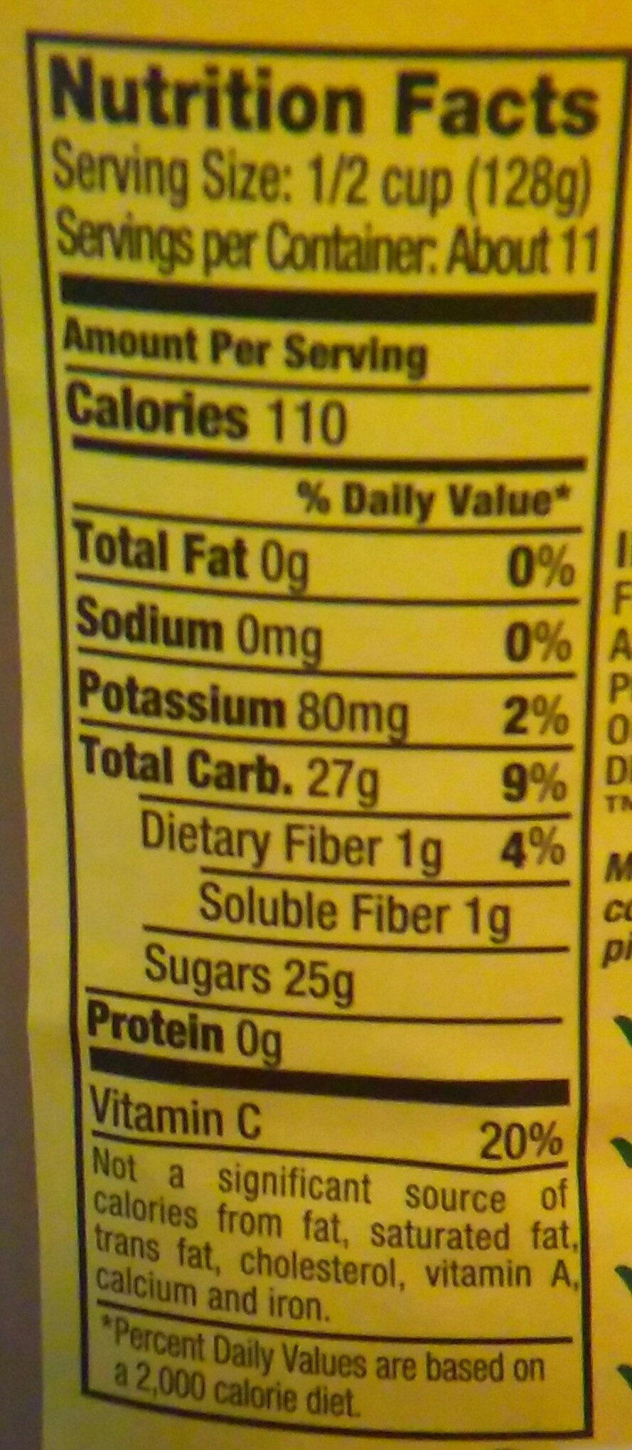 My Applesauce - Nutrition facts