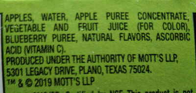 Mott's No Sugar Added Applesauce Blueberry - Ingredients