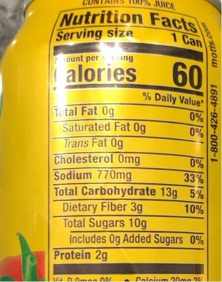 Mott's tomato juice - Informations nutritionnelles - en