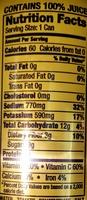 Mott's tomato juice - Informations nutritionnelles