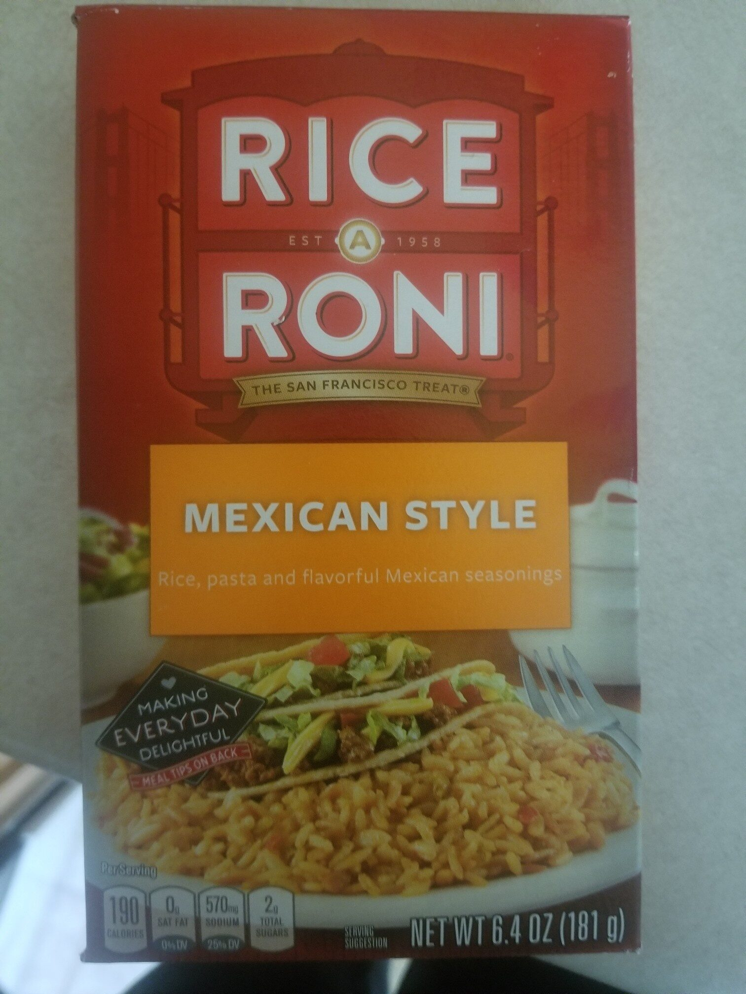 Rice A Roni Mexican Style 6.4 Ounce Paper Box - Product - en