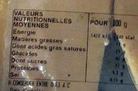 Tarte Citron 6/8 parts - Informations nutritionnelles - fr