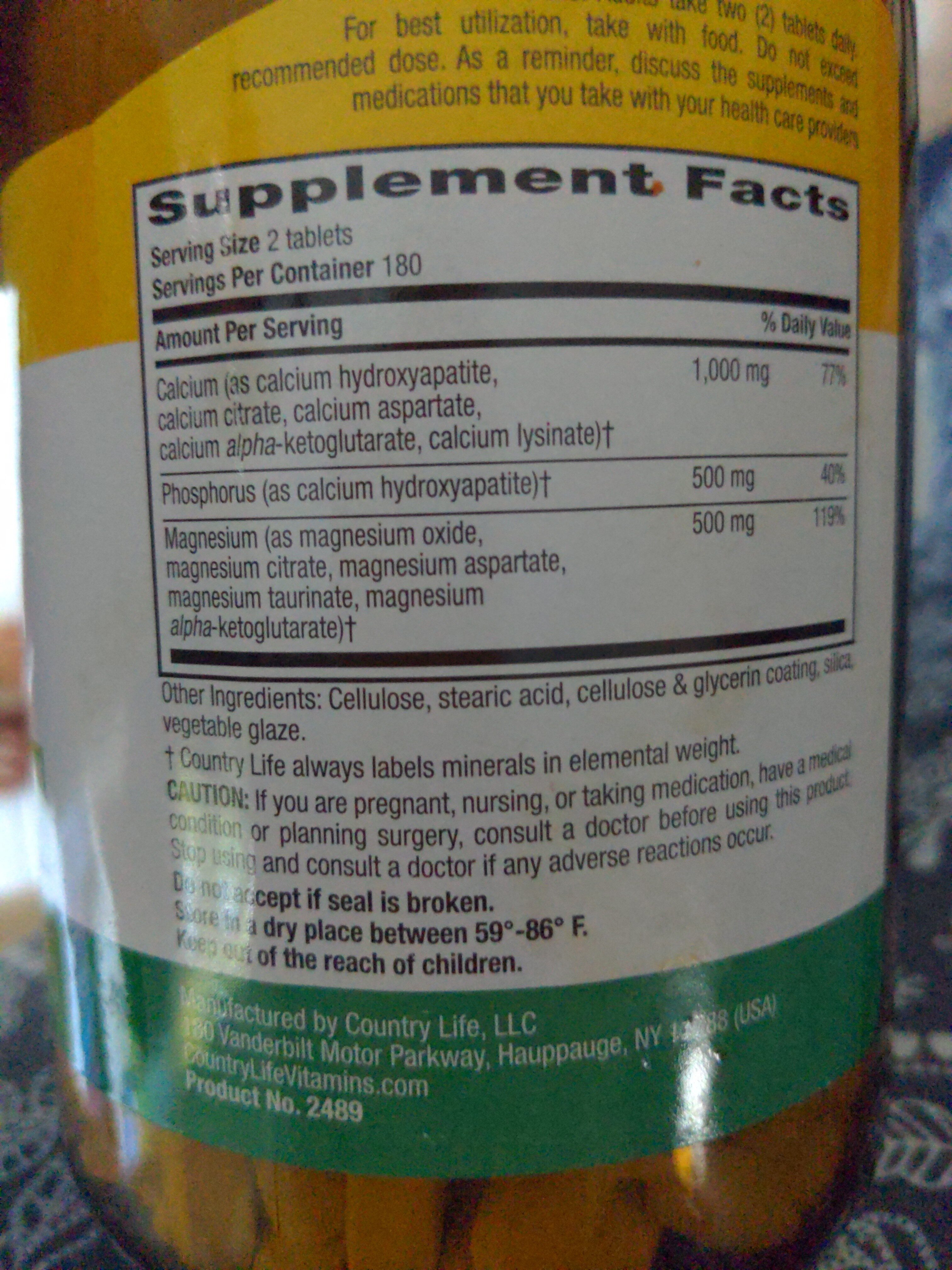 calcium magnesium complex - Ingredients - en