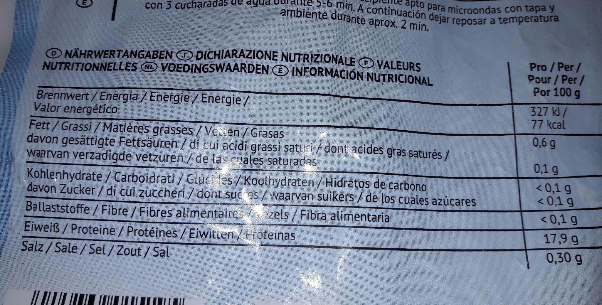 Filets d'églefin nature - Informació nutricional - fr